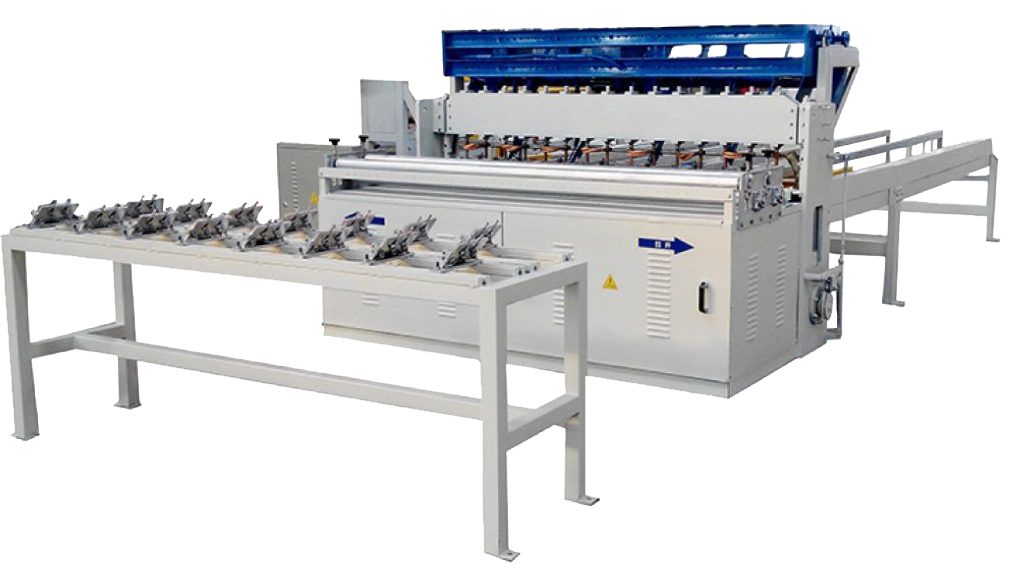Electrowelded mesh machine for manufacturing building materials